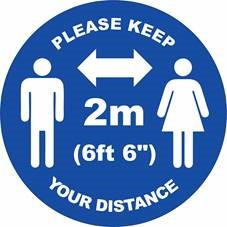 Social Distance 300mm Vinyl Floor Sticker Blue 2 Mtr