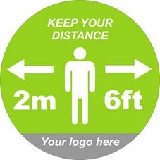 Social Distance 300mm Vinyl Floor Sticker Green Logo