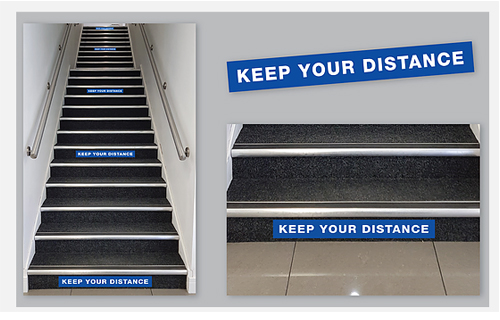 Social Distancing Stairs Stickers 600 x 100mm