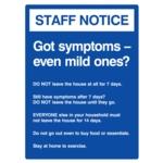 Covid Sign Mild Symptoms A3 400micron PVC
