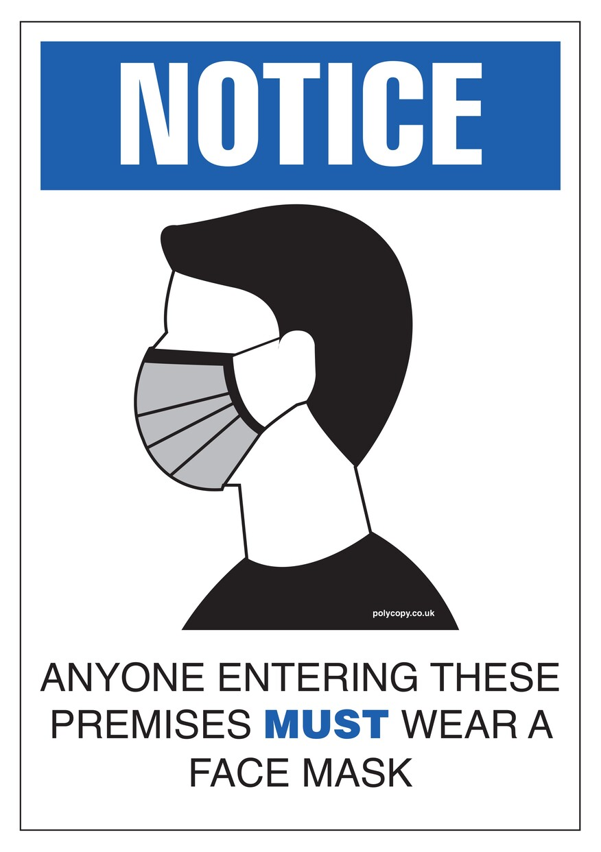 Covid Sign WEAR A MASK A3 400micron PVC