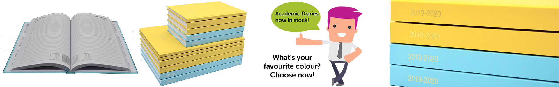Academic diaries in lots of colour options