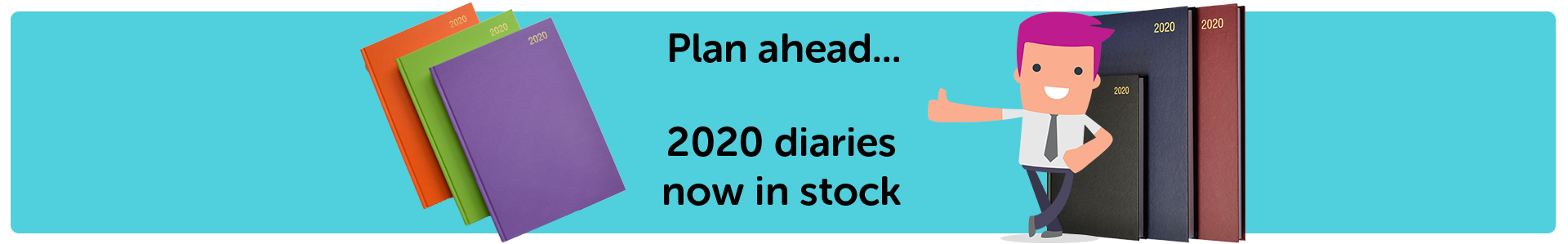 2020 diaries in orange, lime, mauve, black, blue and red