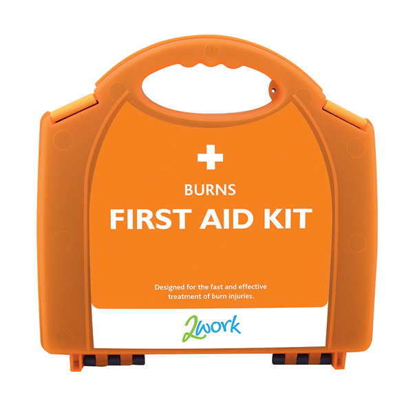 2Work Burns First Aid Kit Small in Compact Orange Case X6090