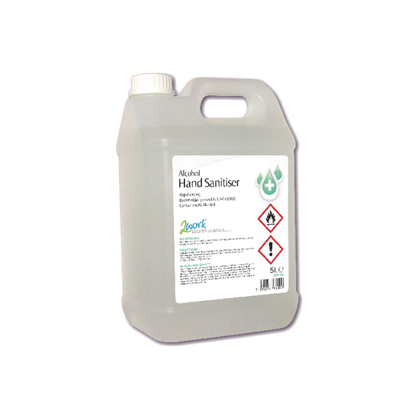 2Work Alcohol-Based Hand Sanitiser 5 Litre Bulk Bottle 2W76010