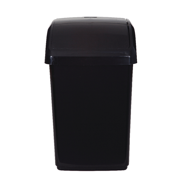 2Work Swing Top Bin 10 Litre Capacity Black 2W810010