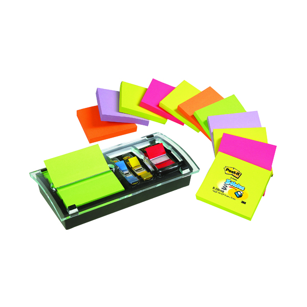 Post-it Designer Combi Note Dispenser with Z-Notes and Index Tabs Black DS100-VP