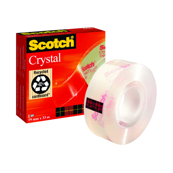 Scotch Crystal Tape 19mm x 33m (Strong adhesion and glossy clear finish) 600