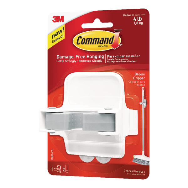 3M Command Adhesive Broom Gripper White (Self-adhesive, no need for nails or screws) 17007-ES