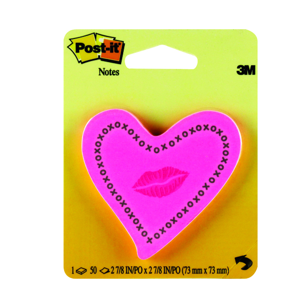 Post-it Heart With Lips Neon Pink Notes (Adheres to most surfaces and removes easily) 6370-HTL
