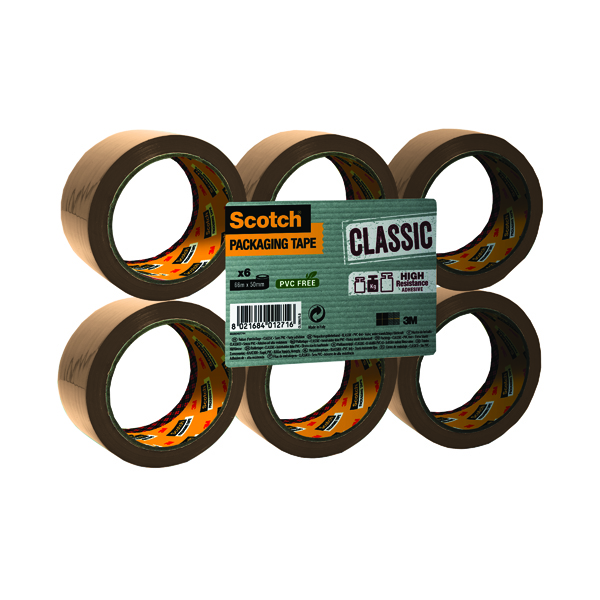 Scotch Buff Packaging Tape Polypropylene 50mmx66m (Pack of 6) C5066SF6