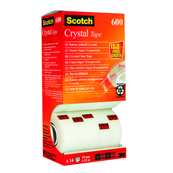 Scotch Crystal Tape 19mm x 33m (Pack of 14) CRYSTAL14VP