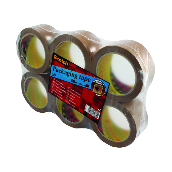 Scotch Packaging Tape Heavy 50mmx66m Brown (Pack of 6) PVC5066F6 B