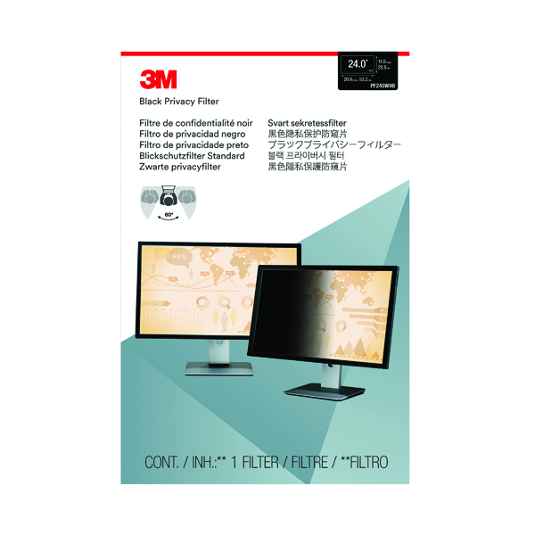 3M Privacy Filter for Widescreen Desktop LCD Monitor 24.0in PF240W9B