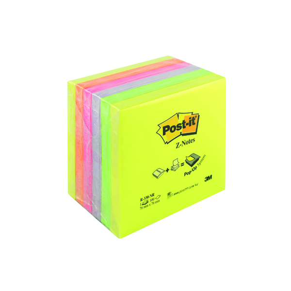Post-it Z-Notes 76x76mm Neon Rainbow (Pack of 6) R330NR