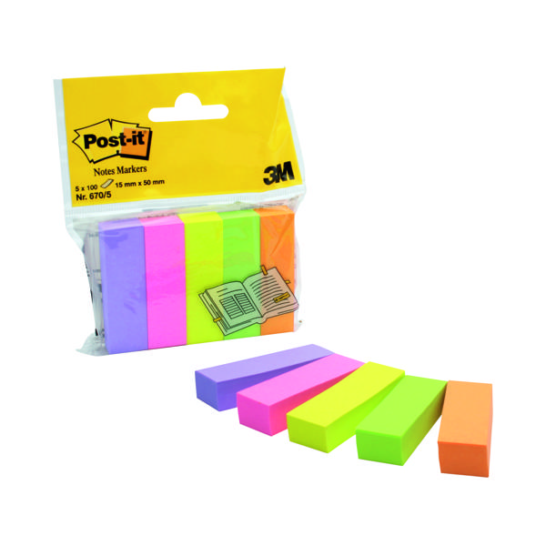 Post-it Page Markers Repositionable Assorted (Pack of 500) 670-5