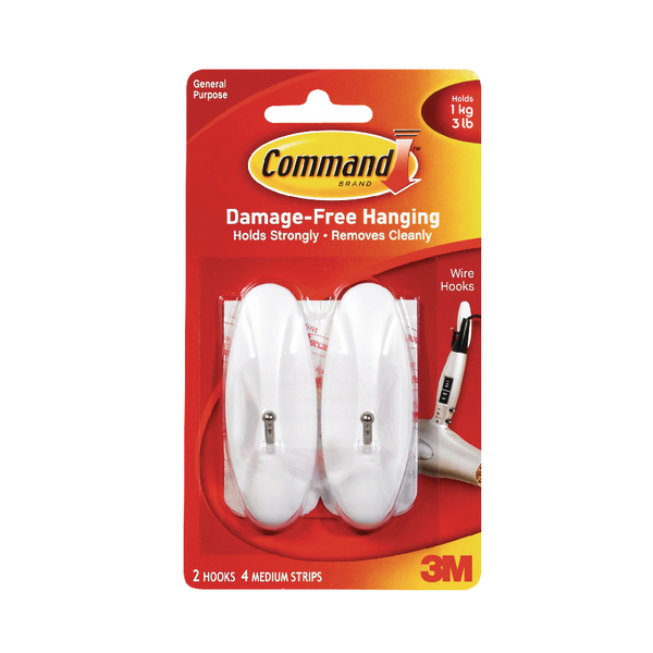 3M Command Medium Wire Hooks With Command Strips 17068