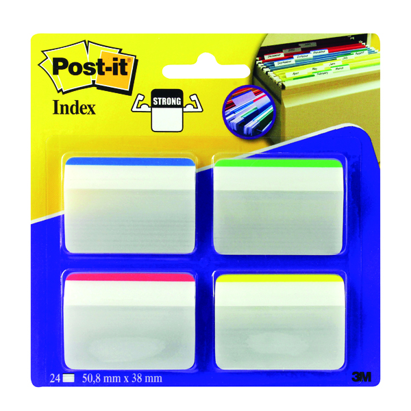 Post-it Index Angled Filing Tabs Assorted (Pack of 24) 686-A1