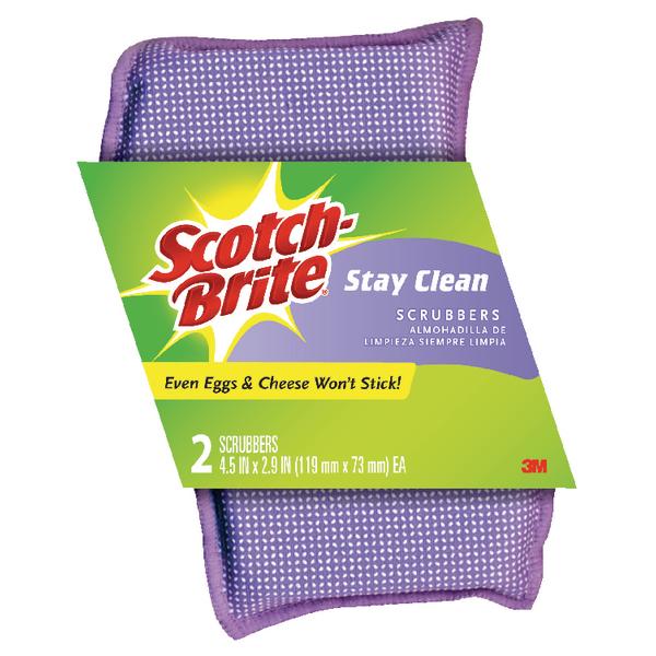 2 x Scotch-Brite Stay Clean ScRubber (Long lasting, non-scratch scrubber pad) 202