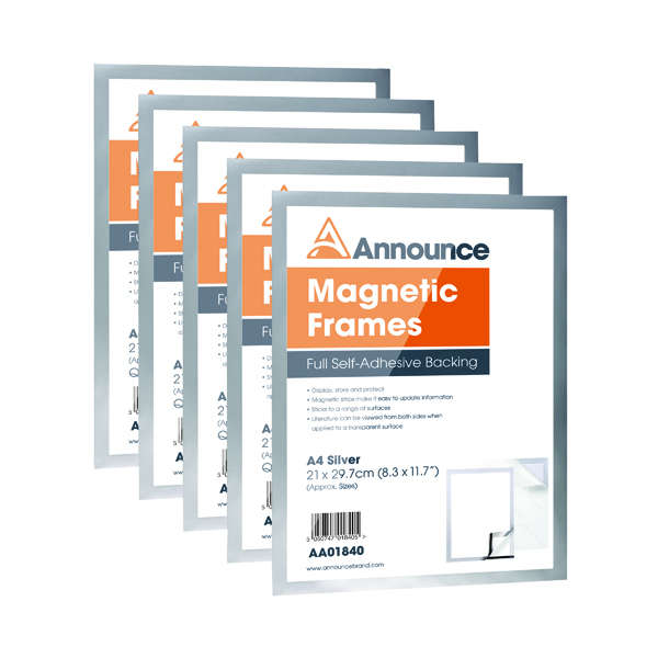 Announce Magnetic Frame A4 Silver (Pack of 5) AA01841