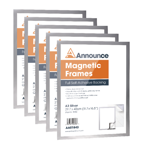 Announce Magnetic Frame A3 Silver (Pack of 5) AA01844