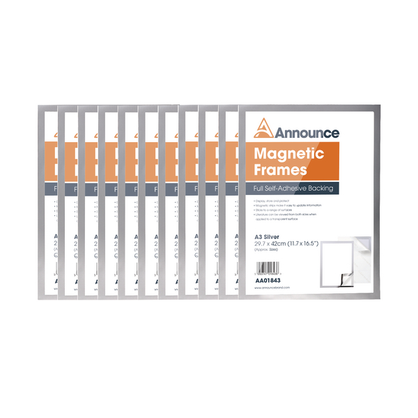 Announce Magnetic Frame A3 Silver (Pack of 10) AA01845