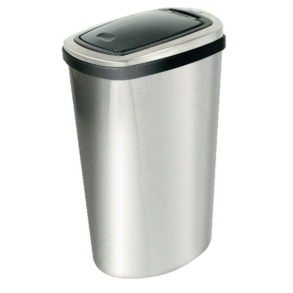 Addis  Deluxe Rectangular Press Top Bin 40 Litre Matte Stainless Steel 508418