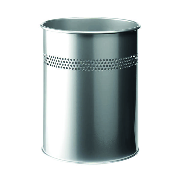 Durable Metal Waste Bin 15 Litre Silver 3300/23