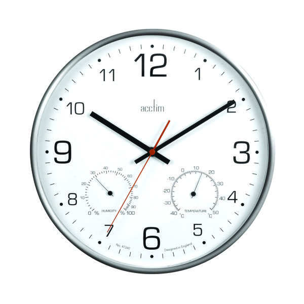 Acctim Komfort 30.5cm Metal Thermo Hygro Wall Clock 29147