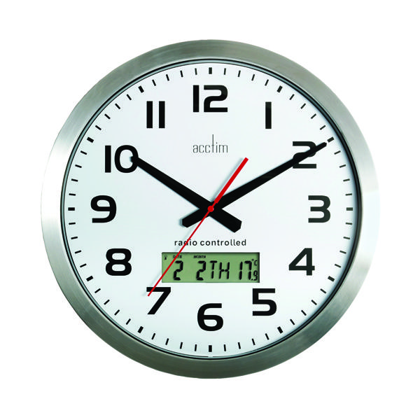 Acctim Meridian Radio Controlled Wall Clock Aluminium 74447