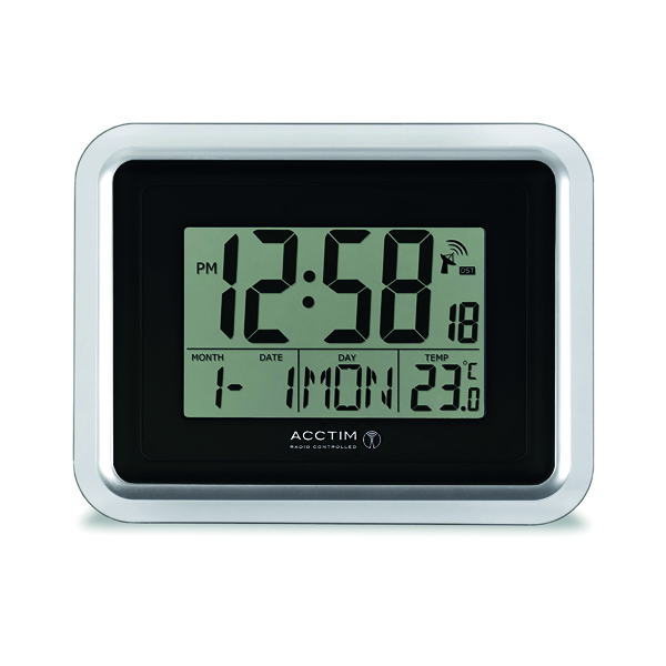 Acctim Lancia Radio Controlled Digital Clock Silver/White 74573