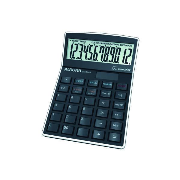 Aurora Black 12-Digit Semi-Desk Calculator (Enables profit and sales calculations) DT910P
