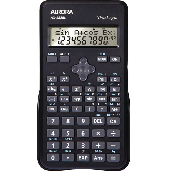 Aurora Black 2-Line Scientific Calculator (2 line display shows both sum and answer) AX582BL