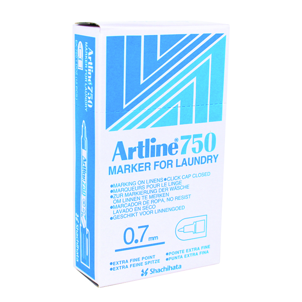 Artline 750 Laundry Marker Bullet Tip Fine Black (Pack of 12) A750