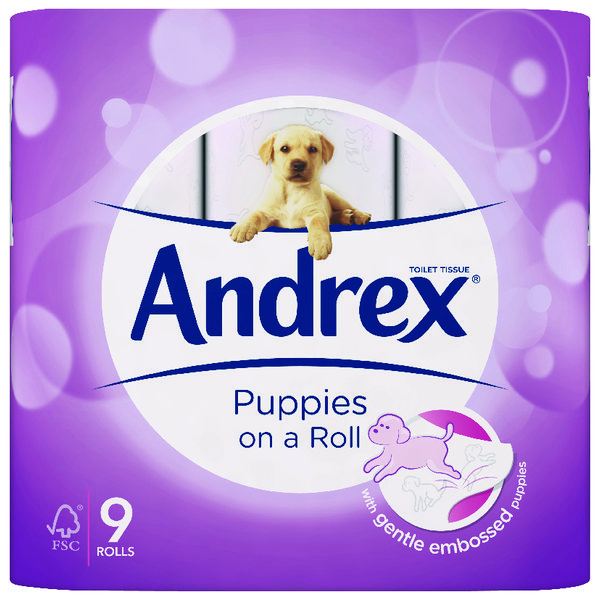 Andrex Puppies on a Roll Toilet Roll (Pack of 9) 4978748
