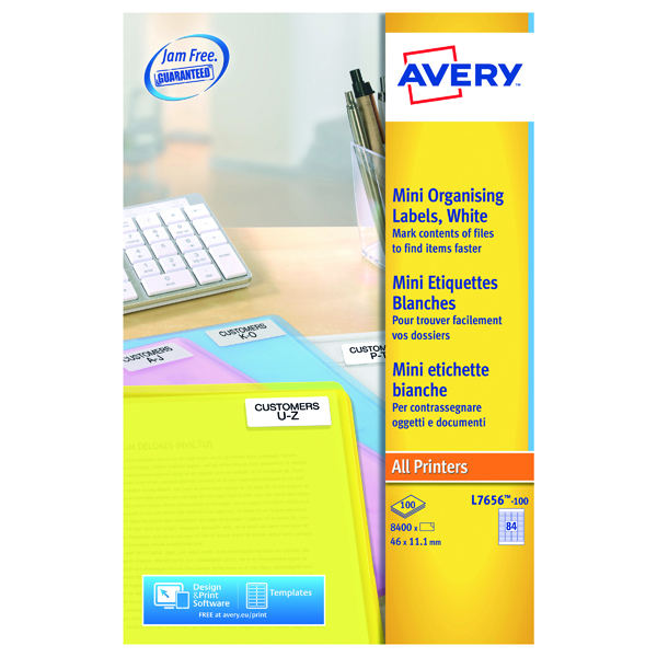 Avery Laser Mini Labels 84 Per Sheet White (Pack of 8400) L7656-100