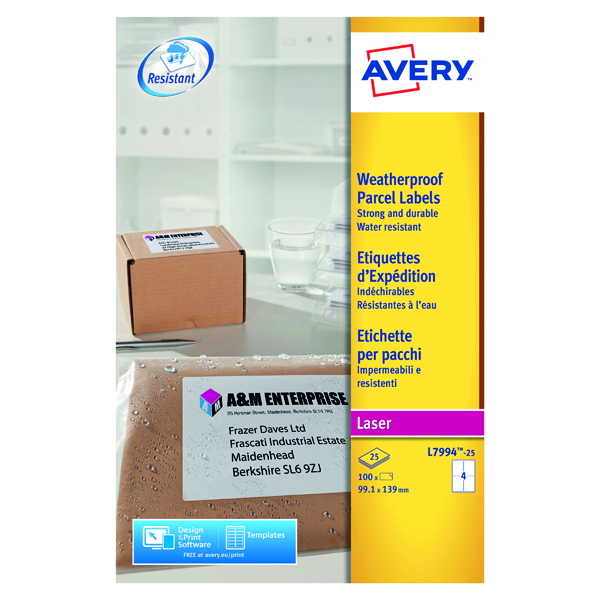 Avery Weatherproof Shipping Label 4 Per Sheet (Pack of 100) L7994-25