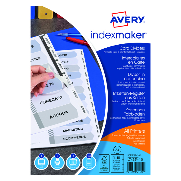 Avery Index Maker Divider 10-Part Punched A4 White 01812061