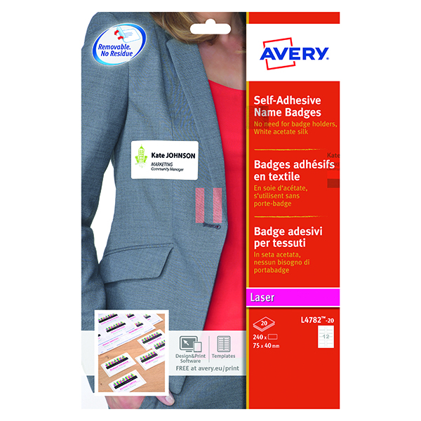 Avery Self Adhesive Name Badge 12 Per Sheet Wht (Pack of 240) L4782-20