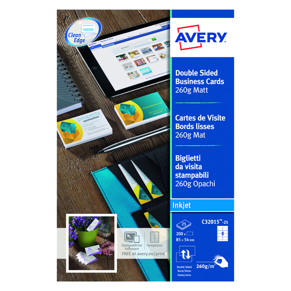 Avery Inkj Business Cards Dble-Sided Matte Wht (Pack of 200) C32015-25