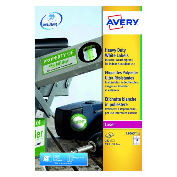 Avery Laser Label Heavy Duty 14 Per Sheet White (Pack of 280) L7063-20