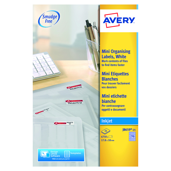 Avery Inkjet Mini Labels 270 Per Sheet White (Pack of 6750) J8659-25