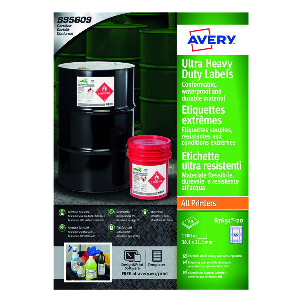 Avery Ultra Resistant Lavels 38x21mm (Pack of 1300) B7651-20