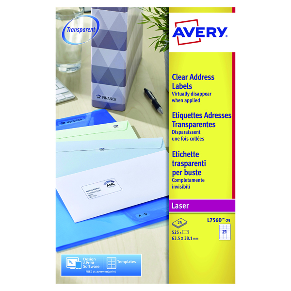 Avery Laser Address Labels 21 Per Sheet Clear (Pack of 525) L7560-25