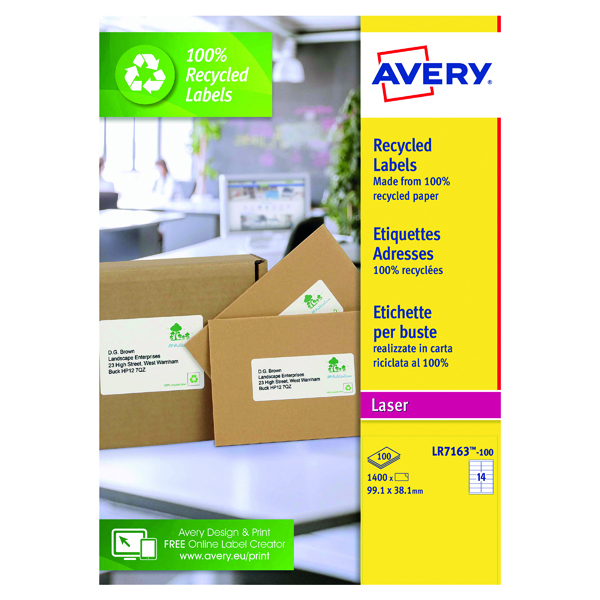 Avery Laser Labels Recycled 14 Per Sheet Wht (Pack of 1400) LR7163-100