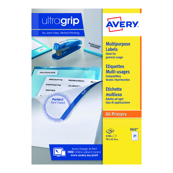 Avery Ultragrip Multi Labels 70 x 42.3mm 21 Per Sheet White (Pack of 2100) 3652
