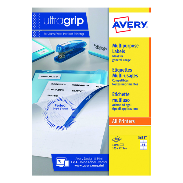 Avery Ultragrip Multi Labels 105x42.3mm 14 Per Sheet White (Pack of 1400) 3653