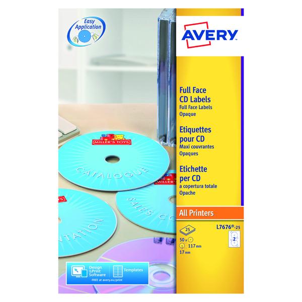 Avery Laser CD/DVD Full Face Label 2 Per Sht Wht (Pack of 50) L7676-25