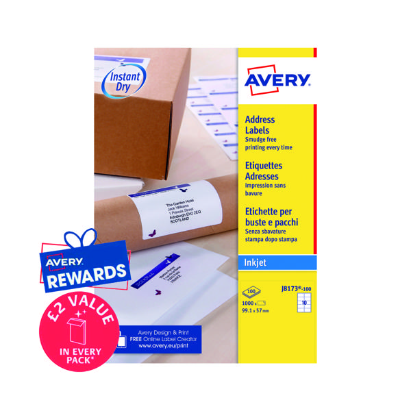 Avery Inkj Label 99.1x57mm 10 Per Sheet White (Pack of 1000) J8173-100