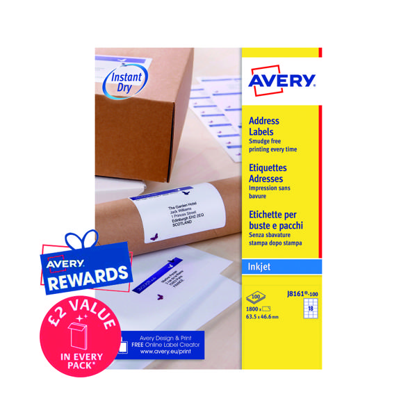 Avery Inkj Label 63.5x46.6mm 18 Per Sheet Wht (Pack of 1800) J8161-100